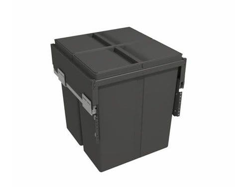 Pull-out waste bin with plastic lid, 2 x 40 litre bins, for 500mm cabinet, Orion Grey